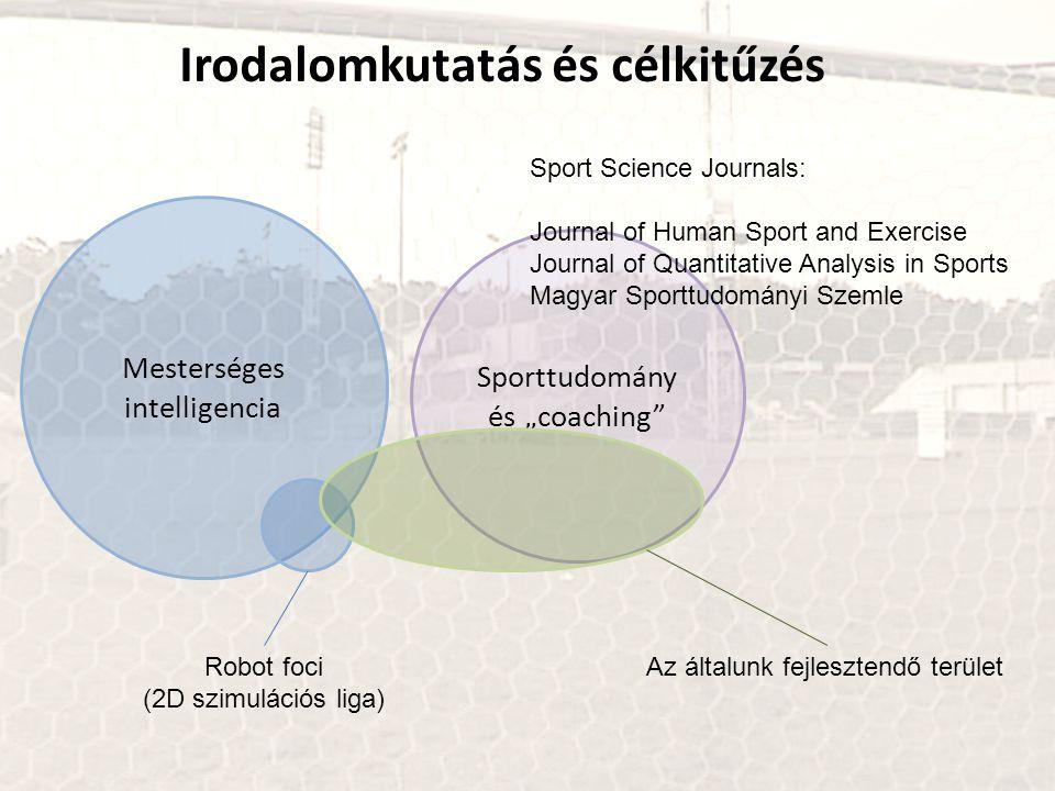 """Irodalomkutatás és célkitűzés Mesterséges intelligencia Sporttudomány és """"coaching"""" Robot foci (2D szimulációs liga) Az általunk fejlesztendő terület"""