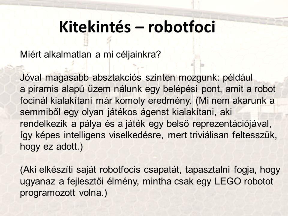Kitekintés – robotfoci Miért alkalmatlan a mi céljainkra? Jóval magasabb absztakciós szinten mozgunk: például a piramis alapú üzem nálunk egy belépési
