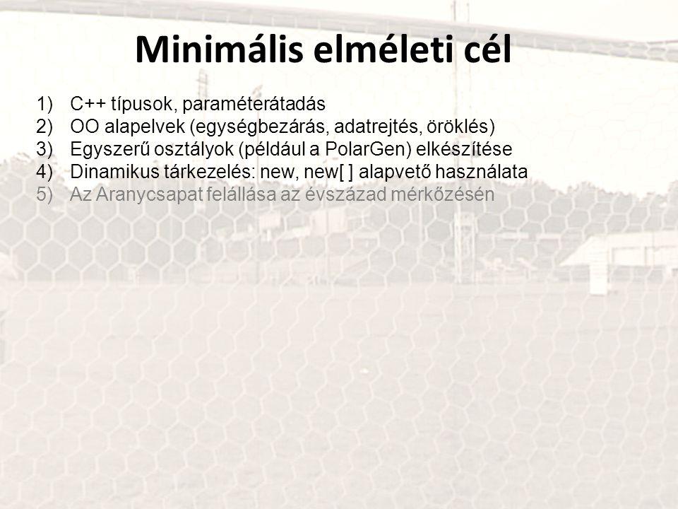 Minimális elméleti cél 1)C++ típusok, paraméterátadás 2)OO alapelvek (egységbezárás, adatrejtés, öröklés) 3)Egyszerű osztályok (például a PolarGen) el