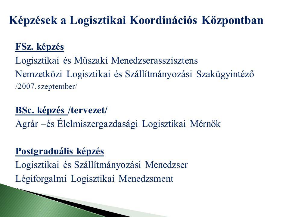 FSz. képzés Logisztikai és Műszaki Menedzserasszisztens Nemzetközi Logisztikai és Szállítmányozási Szakügyintéző /2007. szeptember/ BSc. képzés /terve
