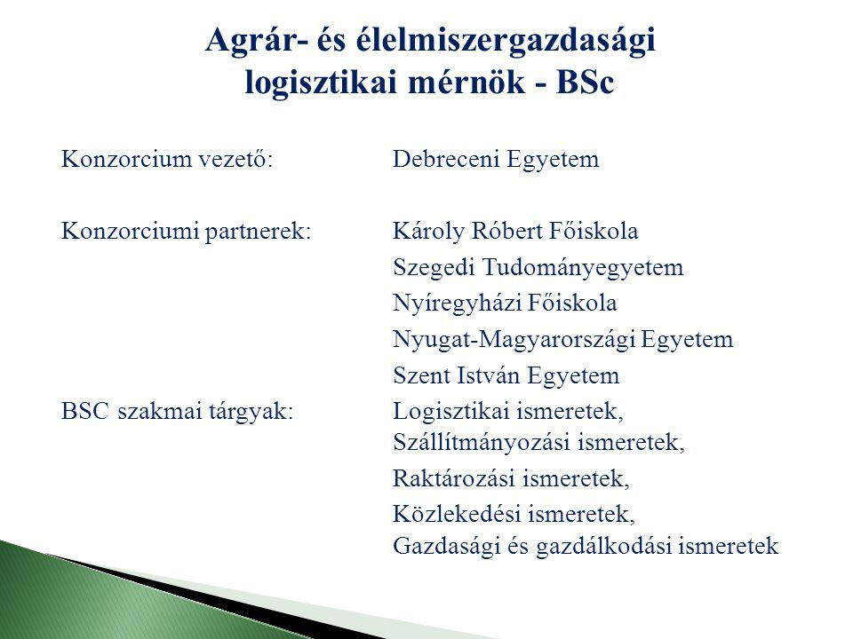  Műszaki alapképzési ismeretek (anyagismeret, fizika, műszaki és élelmiszeripari alapismeretek, gépelemek, raktározás gépei)  Gazdasági és humán ismeretek (agrártörténet és EU ismeretek, jogi ismeretek, gazdasági jog, gazdaságtudományi ismeretek, agrárgazdaságtan, vámismeretek, üzemtan, biztonság- és munkavédelem, minőségmenedzsment, humán menedzsment,)  Logisztikai ismeretek (logisztikai ismeretek I-II., logisztikai információs rendszerek, agrár logisztika I-II., növénytermesztési logisztika, állattenyésztési logisztika, kertészeti logisztika, élelmiszer logisztika)  Szállítmányozási ismeretek (szállítmányozási ismeretek I-II., veszélyes áruk, mezőgazdasági áruszállítás módszerei I-II.
