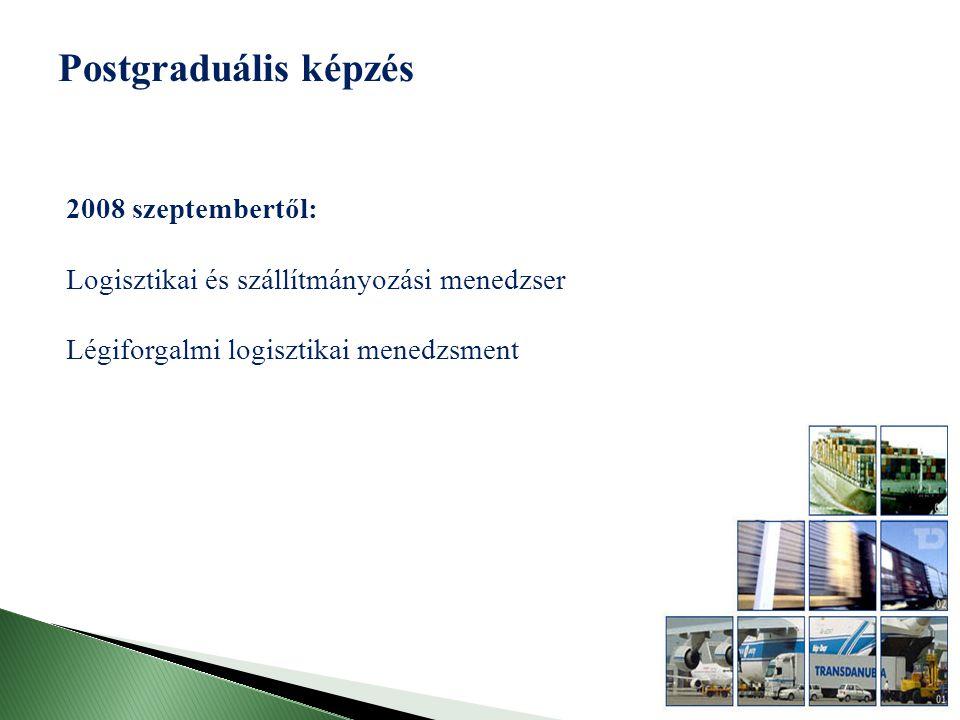 Postgraduális képzés 2008 szeptembertől: Logisztikai és szállítmányozási menedzser Légiforgalmi logisztikai menedzsment