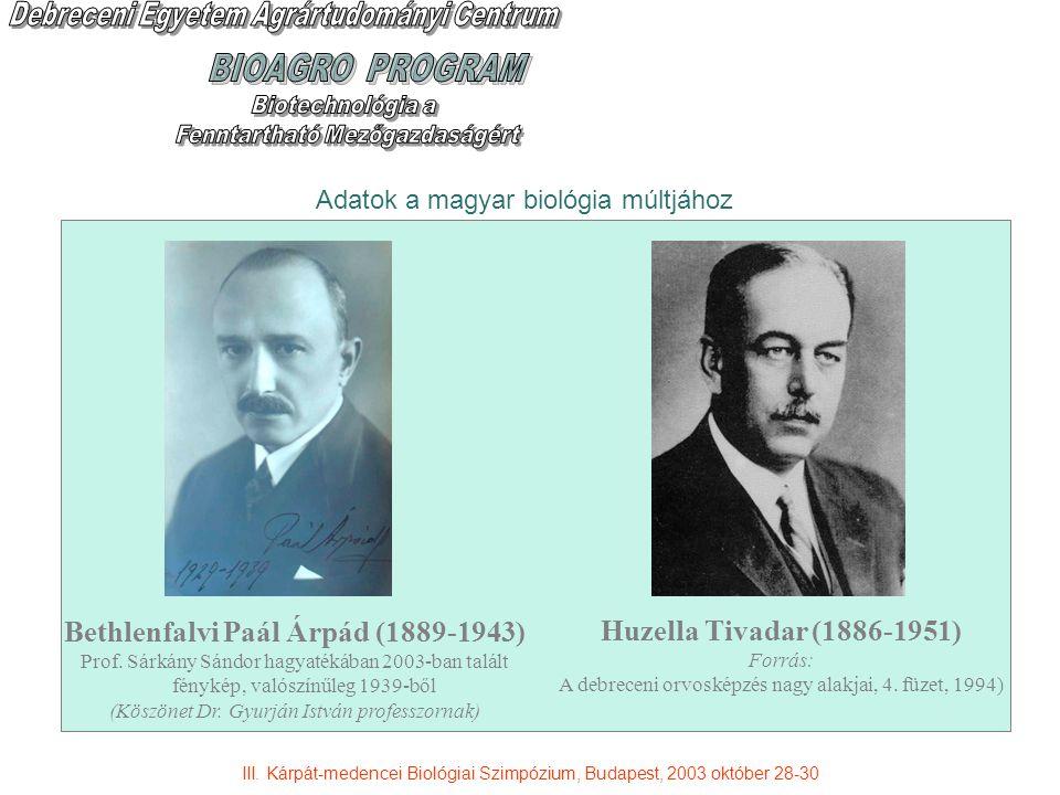 Adatok a magyar biológia múltjához III.