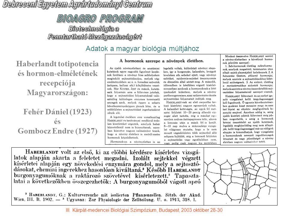 Adatok a magyar biológia múltjához Haberlandt totipotencia és hormon-elméletének recepciója Magyarországon: Fehér Dániel (1923) és Gombocz Endre (1927