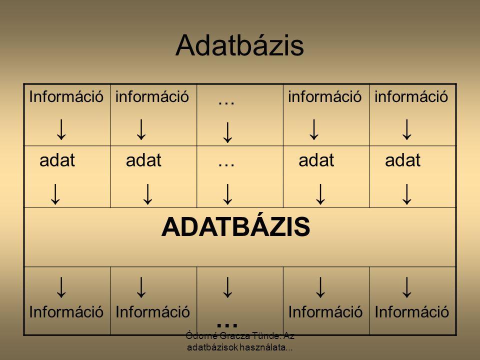 Ódorné Gracza Tünde: Az adatbázisok használata... Adatbázis Információ ↓ információ ↓ … ↓ információ ↓ információ ↓ adat ↓ adat ↓ … ↓ adat ↓ adat ↓ AD