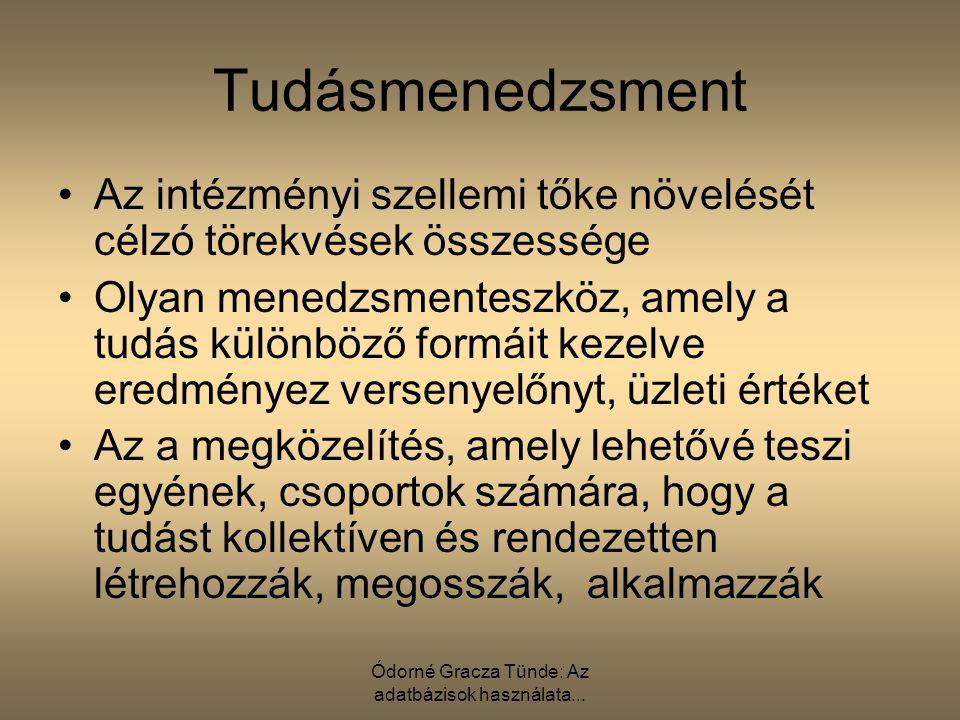 Ódorné Gracza Tünde: Az adatbázisok használata... Tudásmenedzsment Az intézményi szellemi tőke növelését célzó törekvések összessége Olyan menedzsment