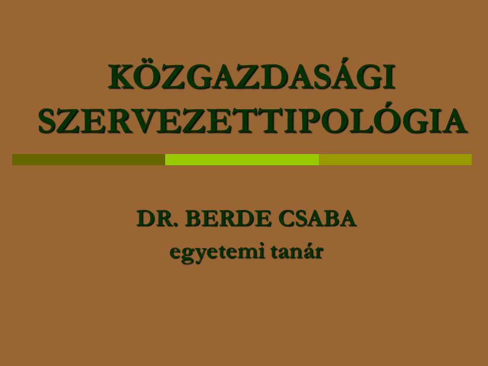 KÖZGAZDASÁGI SZERVEZETTIPOLÓGIA DR. BERDE CSABA egyetemi tanár
