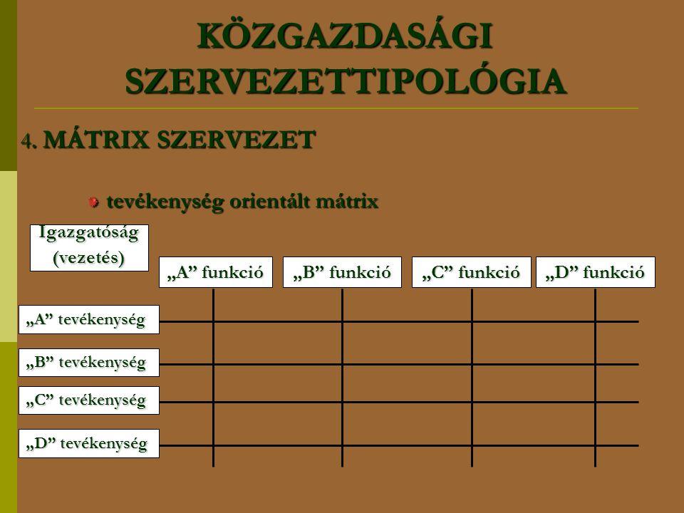 """4. MÁTRIX SZERVEZET tevékenység orientált mátrix Igazgatóság(vezetés) """"A"""" funkció """"B"""" funkció """"C"""" funkció """"D"""" funkció """"A"""" tevékenység """"B"""" tevékenység"""