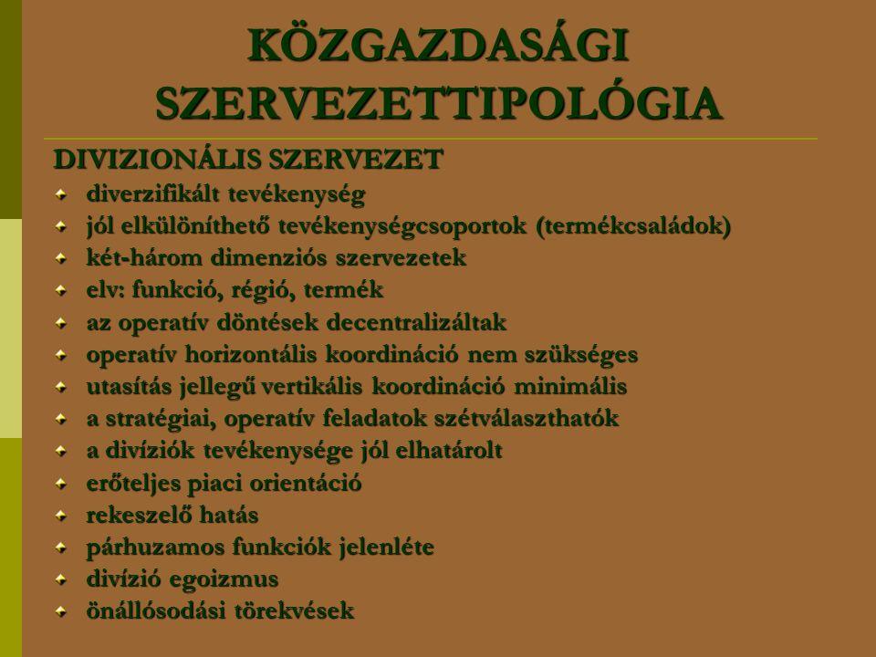 KÖZGAZDASÁGI SZERVEZETTIPOLÓGIA DIVIZIONÁLIS SZERVEZET diverzifikált tevékenység jól elkülöníthető tevékenységcsoportok (termékcsaládok) két-három dim