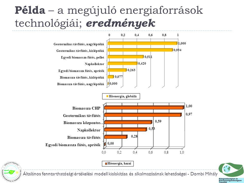 Példa – a megújuló energiaforrások technológiái; eredmények Általános fenntarthatósági értékelési modell kialakítása és alkalmazásának lehetőségei - Dombi Mihály