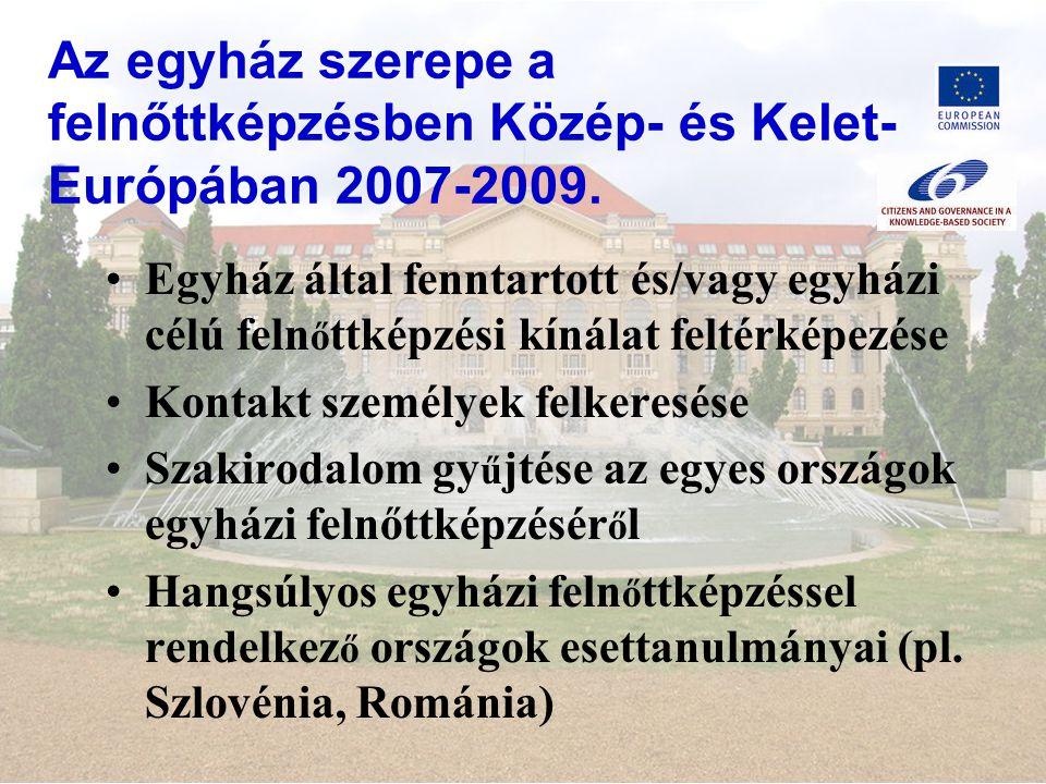 Az egyház szerepe a felnőttképzésben Közép- és Kelet- Európában 2007-2009.