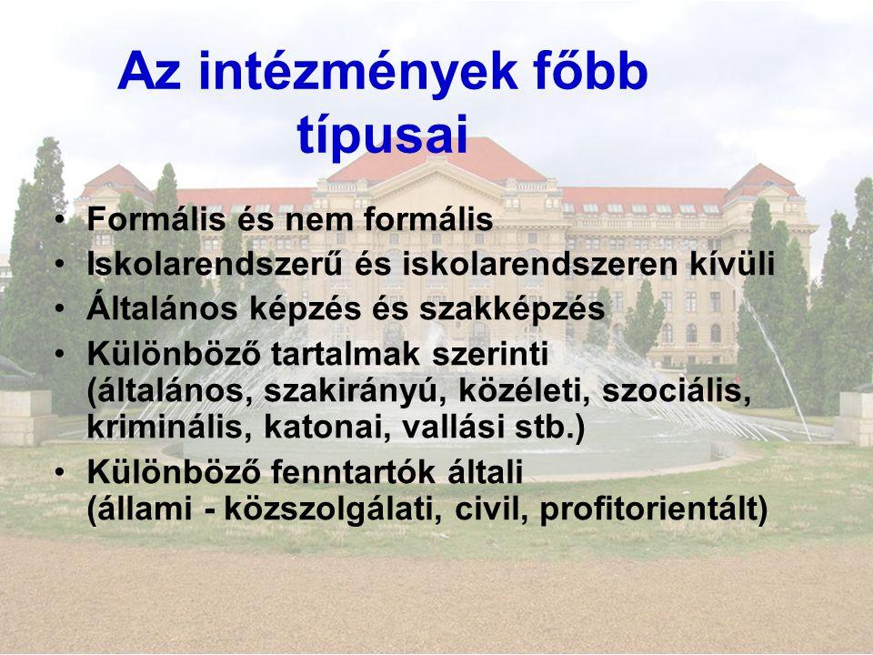 Az intézmények főbb típusai Formális és nem formális Iskolarendszerű és iskolarendszeren kívüli Általános képzés és szakképzés Különböző tartalmak szerinti (általános, szakirányú, közéleti, szociális, kriminális, katonai, vallási stb.) Különböző fenntartók általi (állami - közszolgálati, civil, profitorientált)