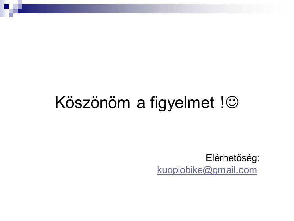 Köszönöm a figyelmet ! Elérhetőség: kuopiobike@gmail.comkuopiobike@gmail.com