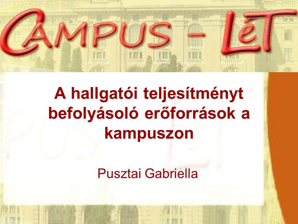A hallgatói teljesítményt befolyásoló erőforrások a kampuszon Pusztai Gabriella