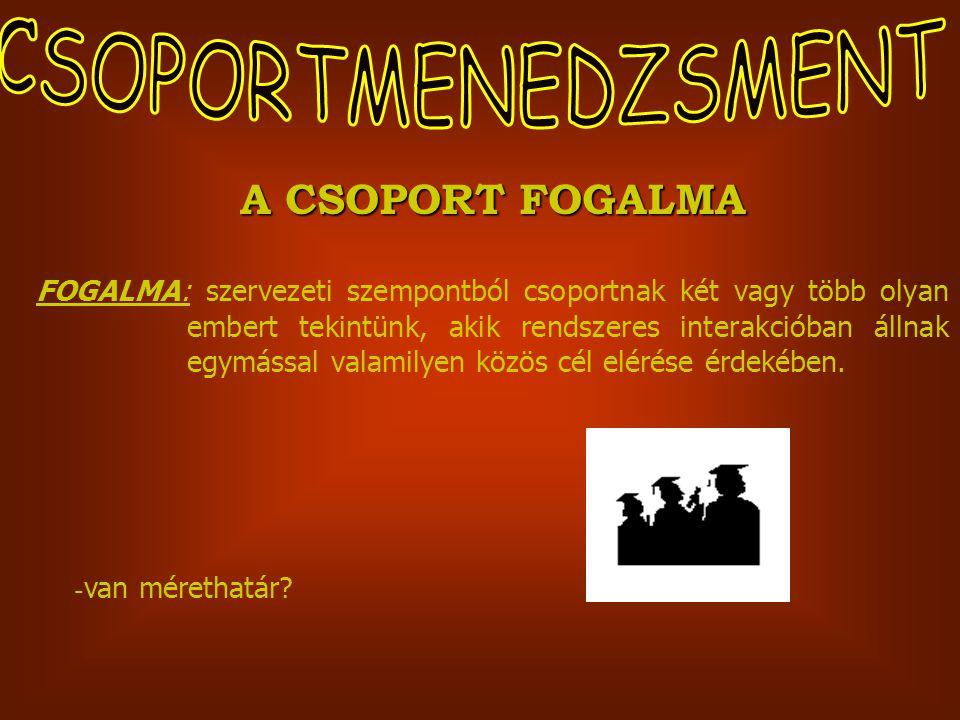 A CSOPORT FOGALMA FOGALMA: szervezeti szempontból csoportnak két vagy több olyan embert tekintünk, akik rendszeres interakcióban állnak egymással valamilyen közös cél elérése érdekében.