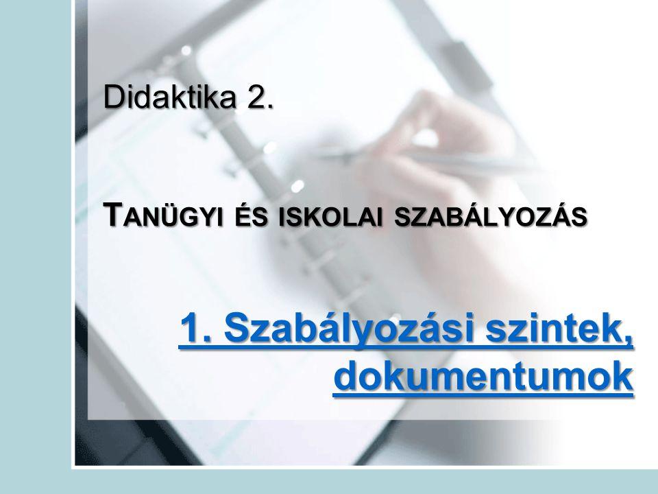 Didaktika 2. T ANÜGYI ÉS ISKOLAI SZABÁLYOZÁS 1. Szabályozási szintek, dokumentumok