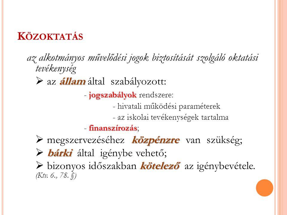 A KÖZOKTATÁS INTÉZMÉNYRENDSZERE I.Nevelési intézmények: A) Óvodák II.