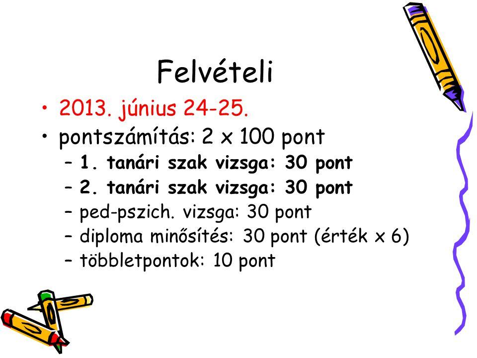 Felvételi 2013. június 24-25. pontszámítás: 2 x 100 pont –1. tanári szak vizsga: 30 pont –2. tanári szak vizsga: 30 pont –ped-pszich. vizsga: 30 pont