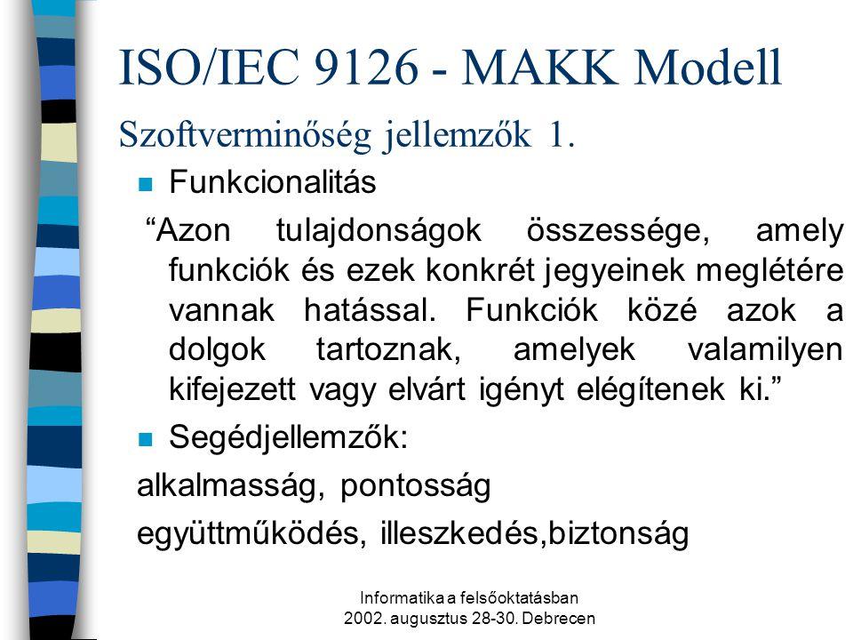 Informatika a felsőoktatásban 2002. augusztus 28-30.