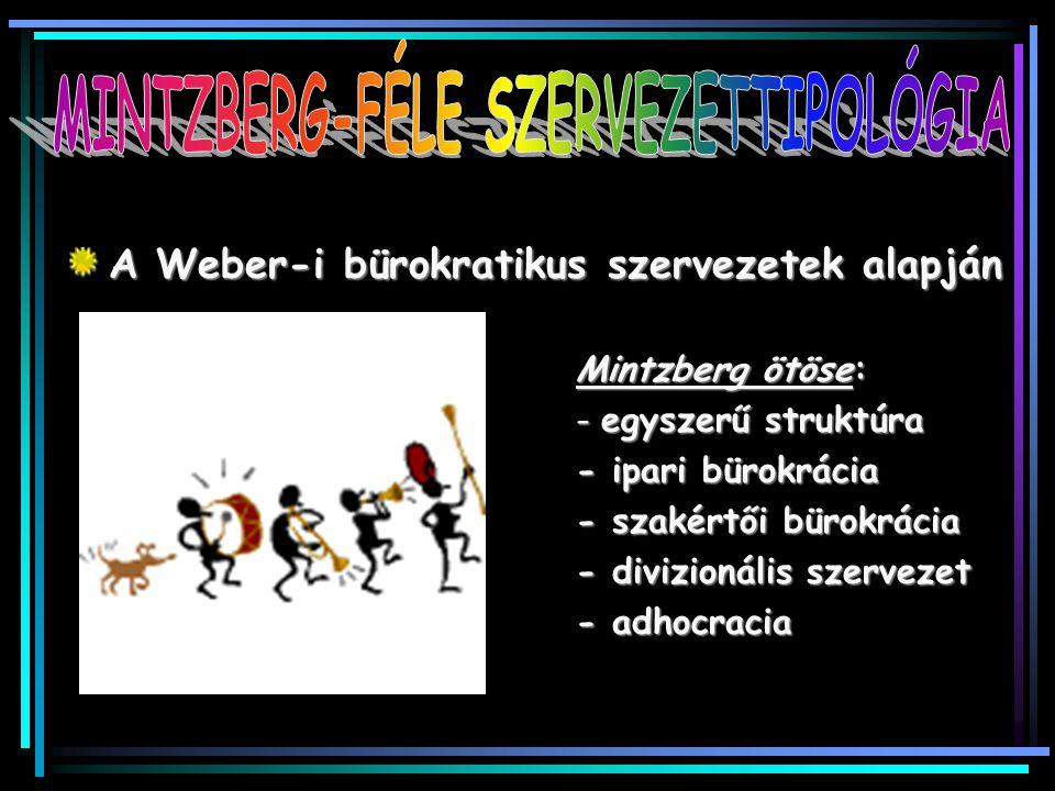 A Weber-i bürokratikus szervezetek alapján Mintzberg ötöse: - egyszerű struktúra - ipari bürokrácia - szakértői bürokrácia - divizionális szervezet -