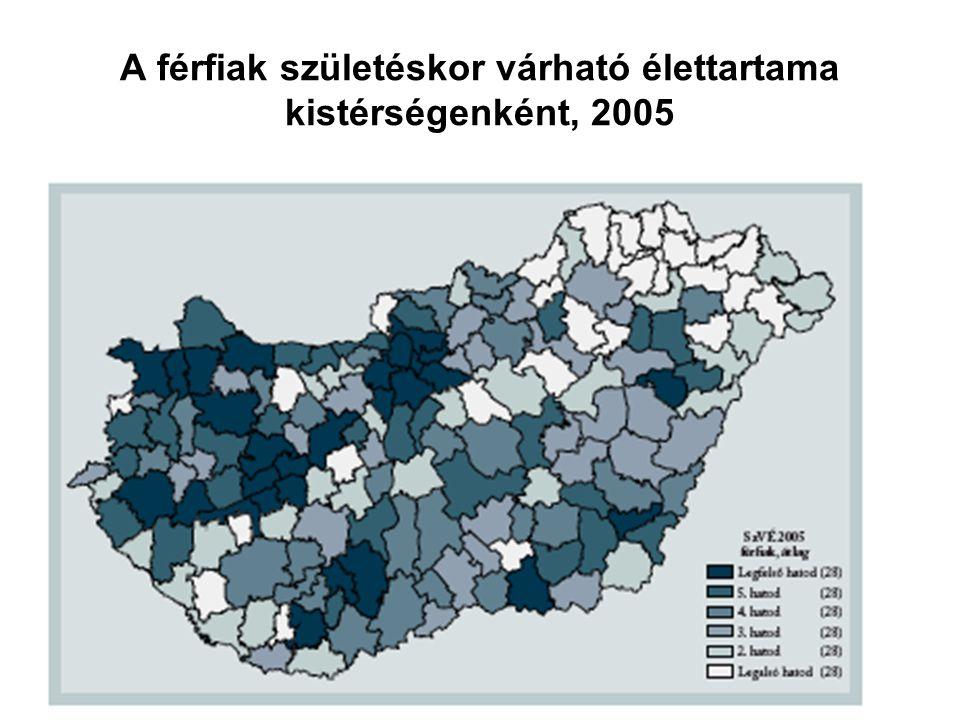 A férfiak születéskor várható élettartama kistérségenként, 2005