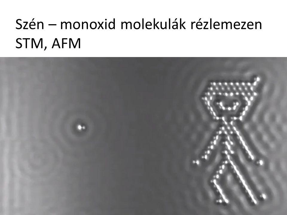 Szén – monoxid molekulák rézlemezen STM, AFM