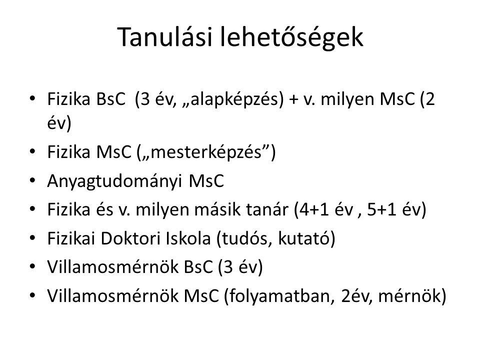 """Tanulási lehetőségek Fizika BsC (3 év, """"alapképzés) + v. milyen MsC (2 év) Fizika MsC (""""mesterképzés"""") Anyagtudományi MsC Fizika és v. milyen másik ta"""