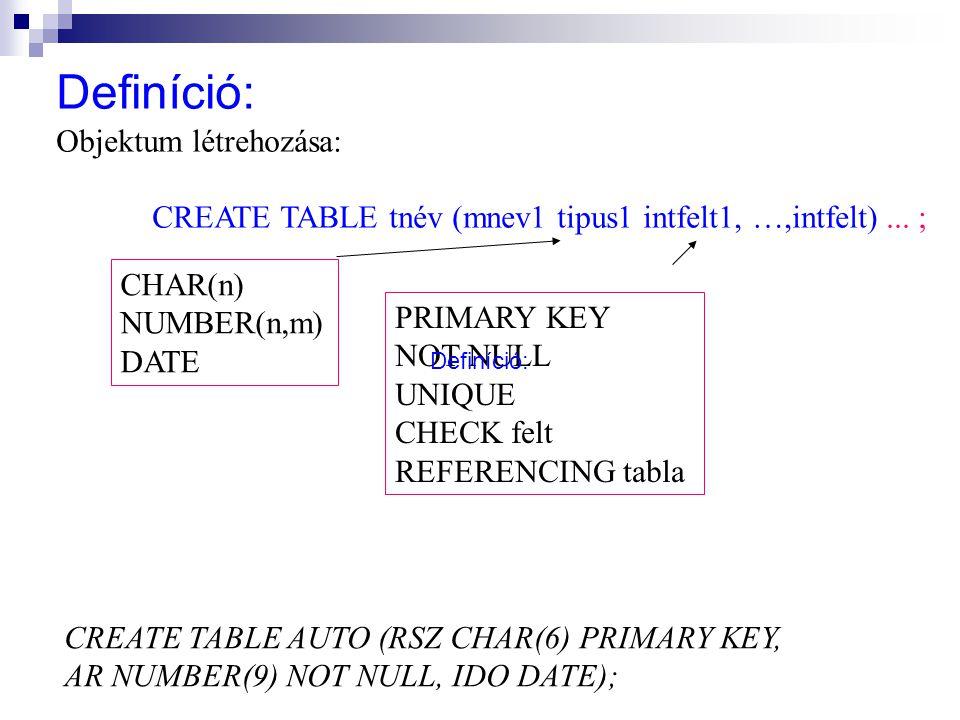 Definíció: Objektum létrehozása: CREATE TABLE tnév (mnev1 tipus1 intfelt1, …,intfelt)... ; CHAR(n) NUMBER(n,m) DATE PRIMARY KEY NOT NULL UNIQUE CHECK