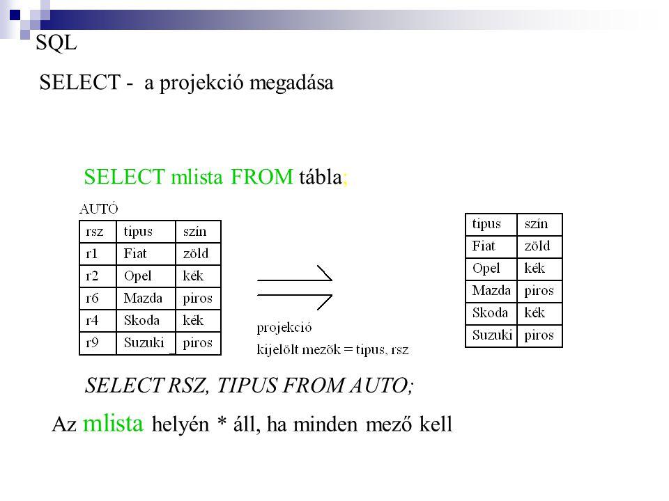 SQL SELECT - a projekció megadása SELECT RSZ, TIPUS FROM AUTO; SELECT mlista FROM tábla; Az mlista helyén * áll, ha minden mező kell