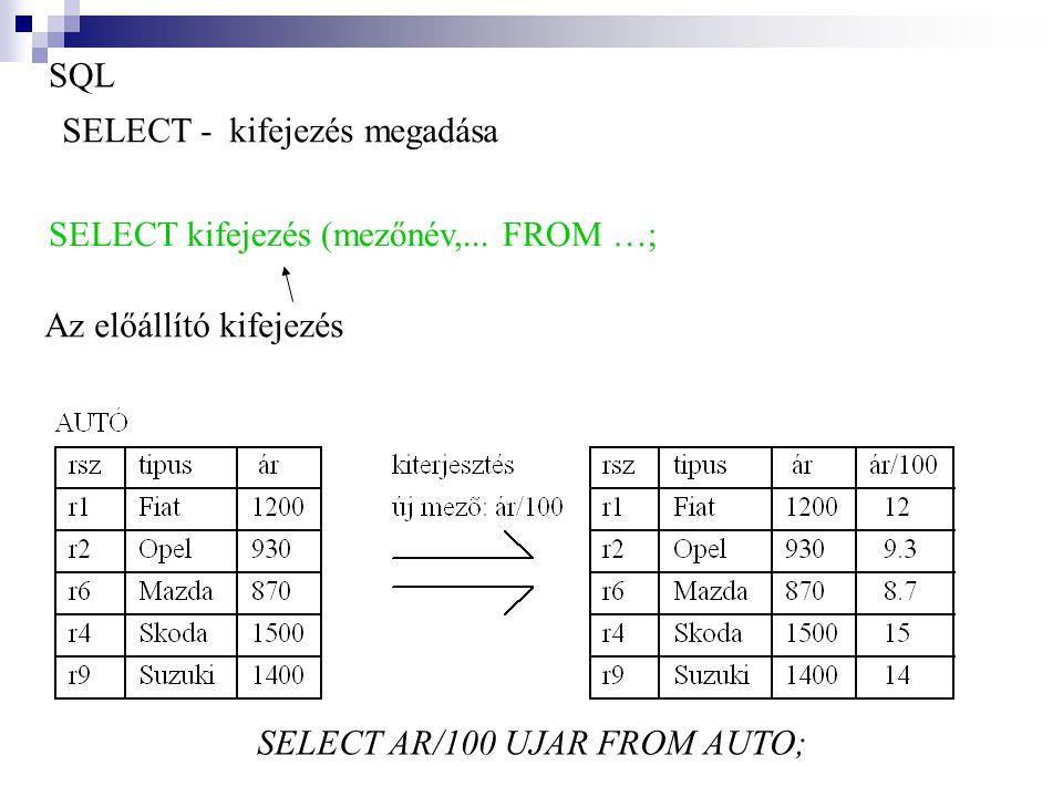 SQL SELECT - kifejezés megadása SELECT kifejezés (mezőnév,... FROM …; SELECT AR/100 UJAR FROM AUTO; Az előállító kifejezés