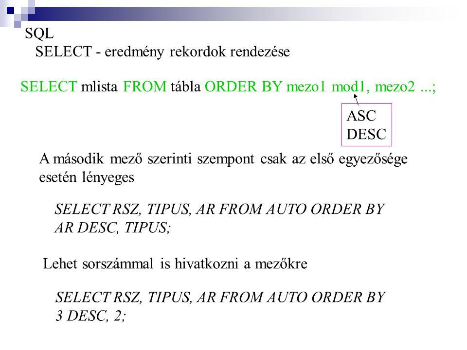 SQL SELECT - eredmény rekordok rendezése SELECT mlista FROM tábla ORDER BY mezo1 mod1, mezo2...; ASC DESC A második mező szerinti szempont csak az els