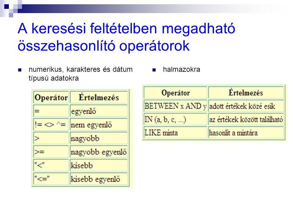 A keresési feltételben megadható összehasonlító operátorok numerikus, karakteres és dátum típusú adatokra halmazokra