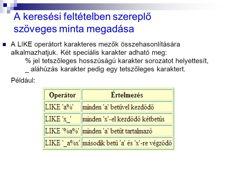 A keresési feltételben szereplő szöveges minta megadása A LIKE operátort karakteres mezők összehasonlítására alkalmazhatjuk. Két speciális karakter ad