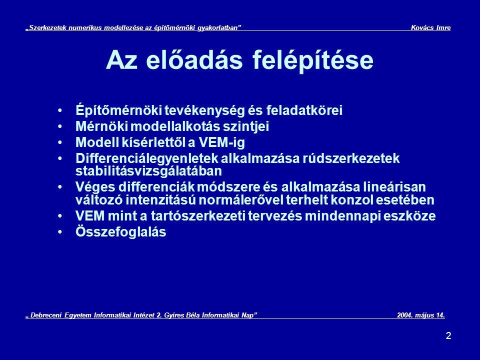 """3 Építőmérnöki tevékenység """"Szerkezetek numerikus modellezése az építőmérnöki gyakorlatban Kovács Imre Szerkezetépítés KözműépítésKözlekedésépítés Geodézia Geotechnika magasépítés, mélyépítés út- és vasútépítés vízellátás, csatornázás, szennyviztisztitás, vízépítés speciális alapozások, földalatti műtárgyak, alagutak általános és ipari geodézia, térinformatika """" Debreceni Egyetem Informatikai Intézet 2."""