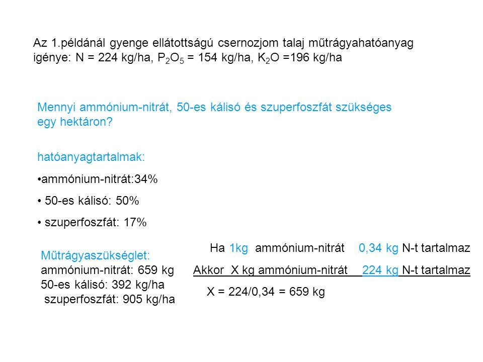 Az 1.példánál gyenge ellátottságú csernozjom talaj műtrágyahatóanyag igénye: N = 224 kg/ha, P 2 O 5 = 154 kg/ha, K 2 O =196 kg/ha Mennyi ammónium-nitr