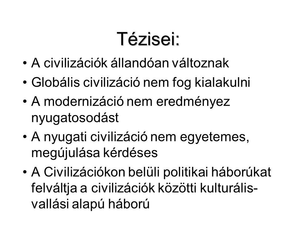 Tézisei: A civilizációk állandóan változnak Globális civilizáció nem fog kialakulni A modernizáció nem eredményez nyugatosodást A nyugati civilizáció
