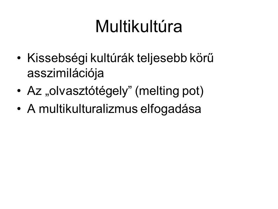 """Multikultúra Kissebségi kultúrák teljesebb körű asszimilációja Az """"olvasztótégely"""" (melting pot) A multikulturalizmus elfogadása"""