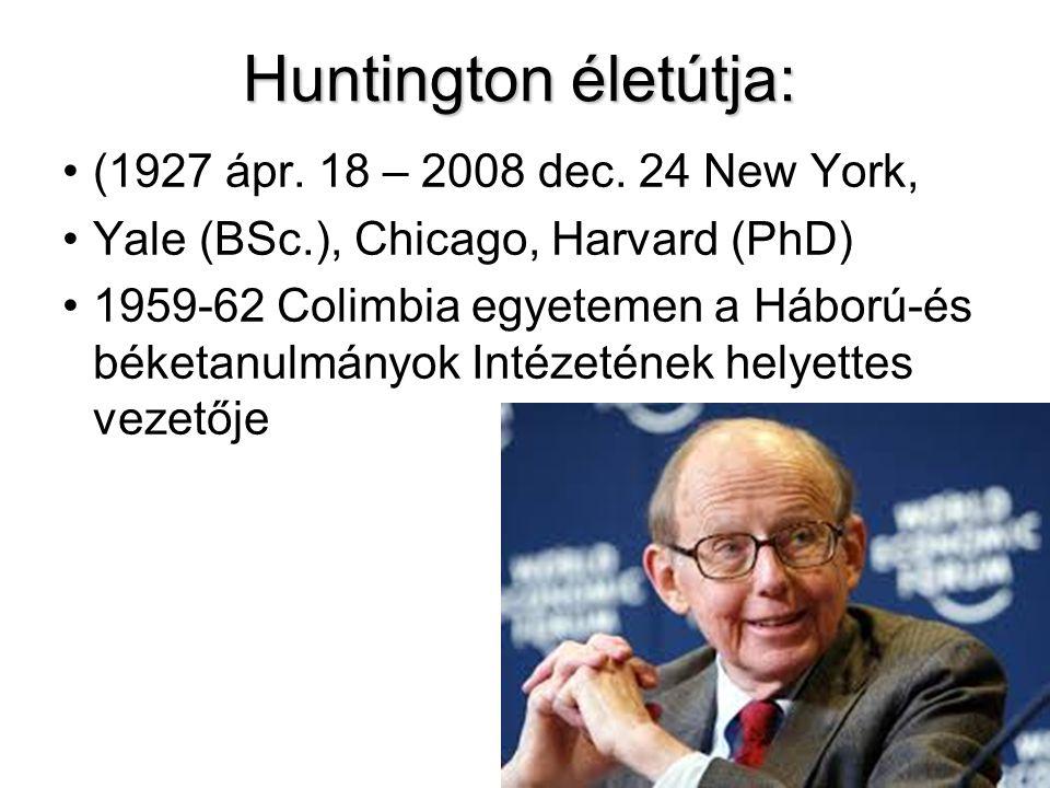Huntington életútja: (1927 ápr. 18 – 2008 dec. 24 New York, Yale (BSc.), Chicago, Harvard (PhD) 1959-62 Colimbia egyetemen a Háború-és béketanulmányok