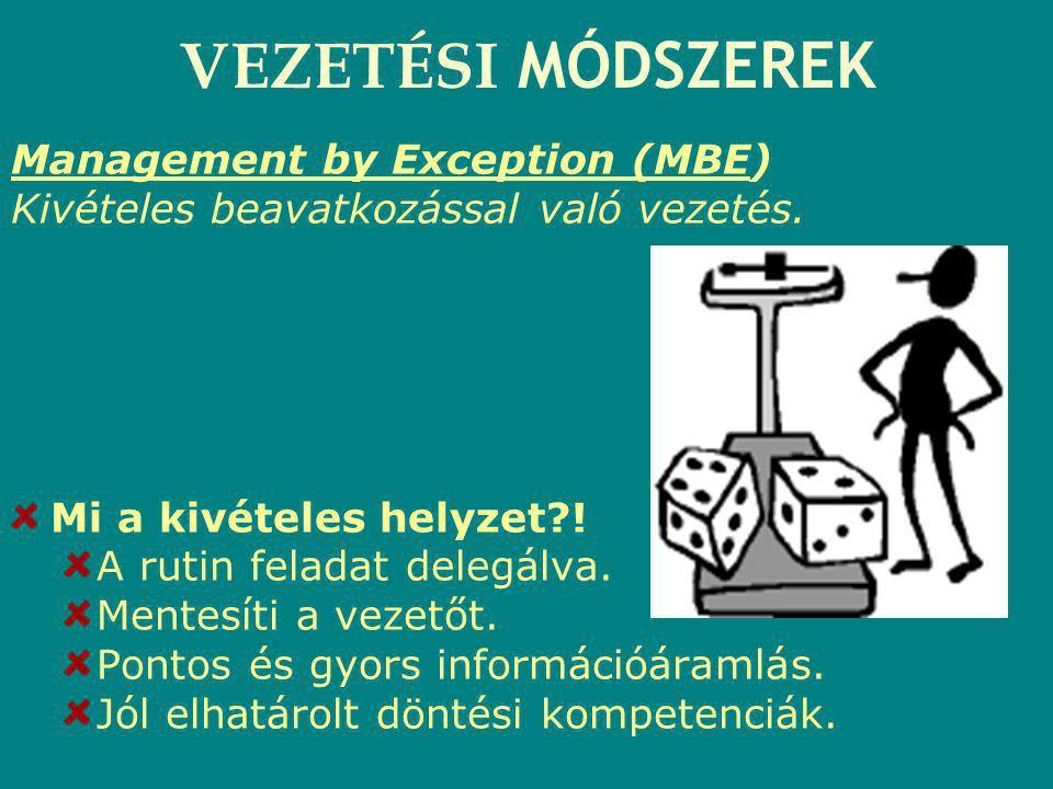 VEZETÉSI MÓDSZEREK Management by Exception (MBE) Kivételes beavatkozással való vezetés. Mi a kivételes helyzet?! A rutin feladat delegálva. Mentesíti