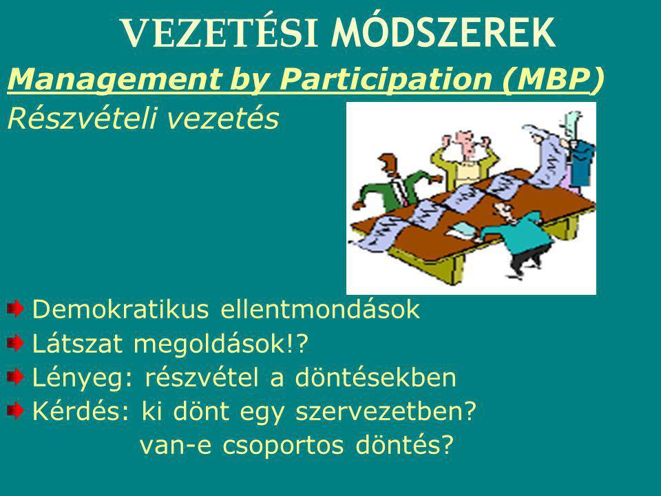 VEZETÉSI MÓDSZEREK Management by Participation (MBP) Részvételi vezetés Demokratikus ellentmondások Látszat megoldások!? Lényeg: részvétel a döntésekb