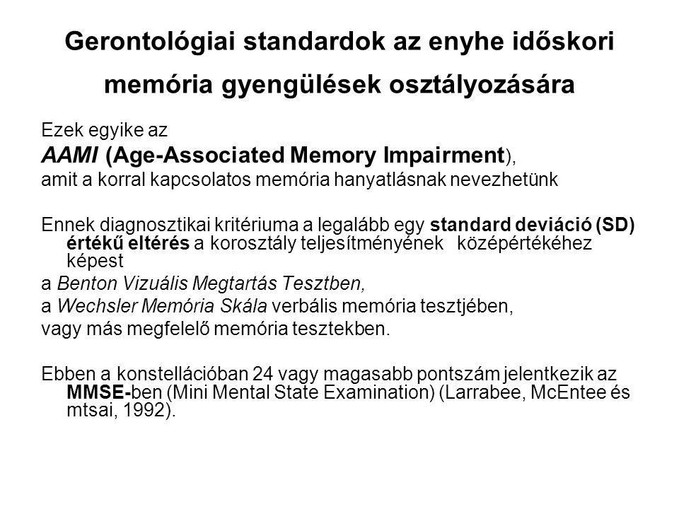 """AAMI Age-Associated Memory Impairment Azok az idősek, akik eleget tesznek az AAMI kritériumainak, kevés változást mutatnak, vagy akár nem is mutatnak változást a memória tesztek széles skáláján, ami azt sugallja, hogy ez egy """"jóindulatú állapot (Hanninen és Soininen, 1997)."""