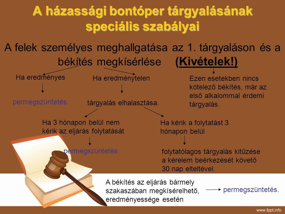 A házassági bontóper tárgyalásának speciális szabályai A felek személyes meghallgatása az 1. tárgyaláson és a békítés megkísérlése (Kivételek!) Ha ere