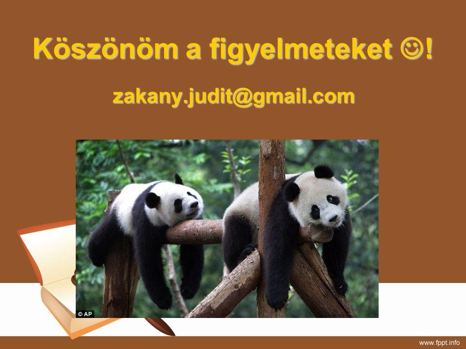 Köszönöm a figyelmeteket ! zakany.judit@gmail.com