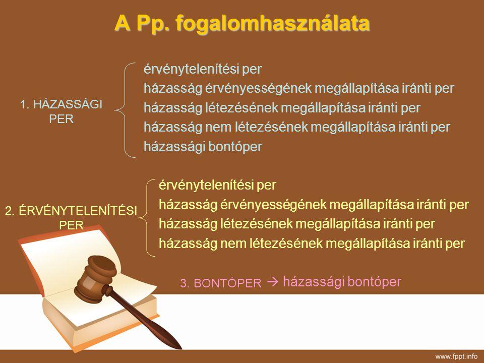A Pp. fogalomhasználata érvénytelenítési per házasság érvényességének megállapítása iránti per házasság létezésének megállapítása iránti per házasság
