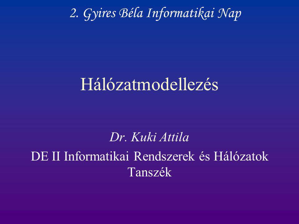 Hálózatmodellezés Dr. Kuki Attila DE II Informatikai Rendszerek és Hálózatok Tanszék 2. Gyires Béla Informatikai Nap