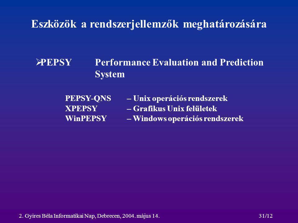 2. Gyires Béla Informatikai Nap, Debrecen, 2004. május 14.31/12 Eszközök a rendszerjellemzők meghatározására  PEPSY Performance Evaluation and Predic