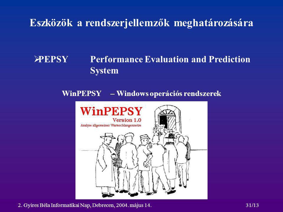 2. Gyires Béla Informatikai Nap, Debrecen, 2004. május 14.31/13 Eszközök a rendszerjellemzők meghatározására  PEPSY Performance Evaluation and Predic
