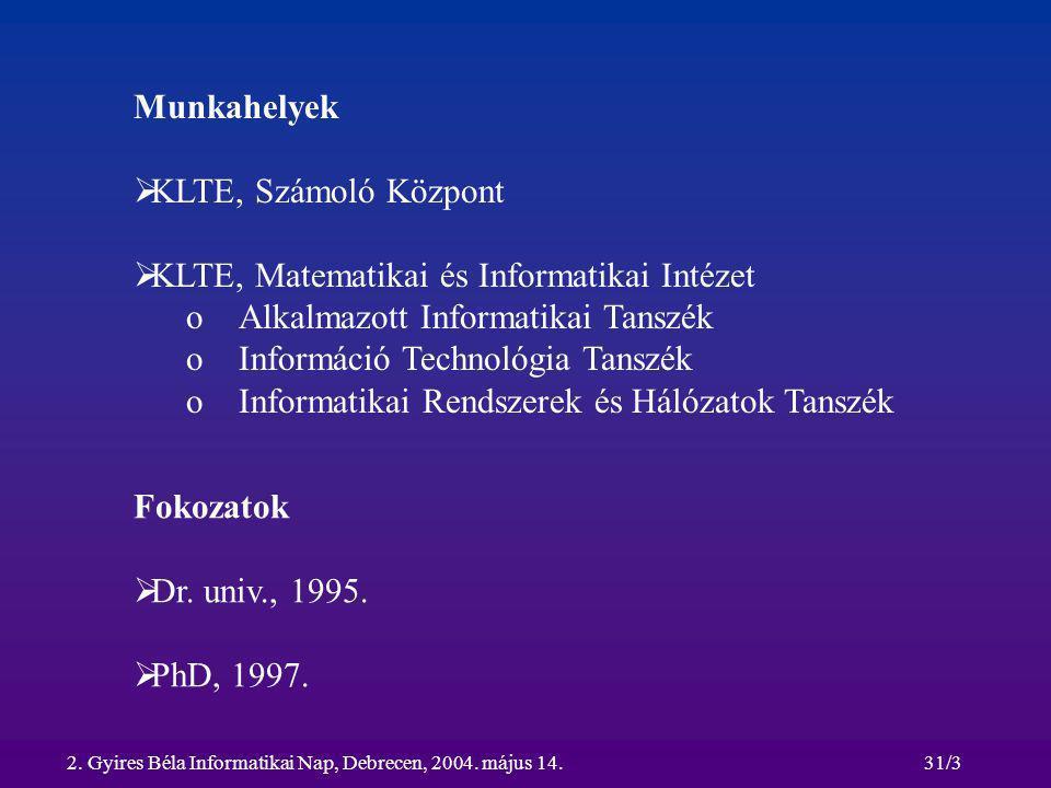 2. Gyires Béla Informatikai Nap, Debrecen, 2004. május 14.31/3 Munkahelyek  KLTE, Számoló Központ  KLTE, Matematikai és Informatikai Intézet oAlkalm
