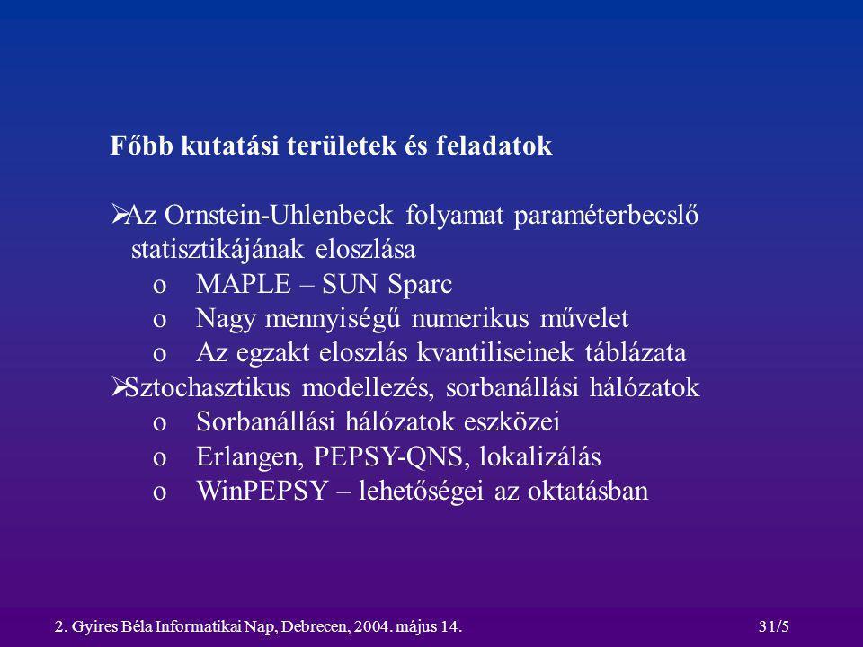2. Gyires Béla Informatikai Nap, Debrecen, 2004. május 14.31/5 Főbb kutatási területek és feladatok  Az Ornstein-Uhlenbeck folyamat paraméterbecslő s