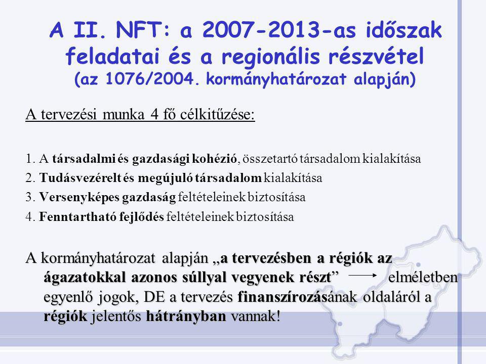 A II. NFT: a 2007-2013-as időszak feladatai és a regionális részvétel (az 1076/2004.